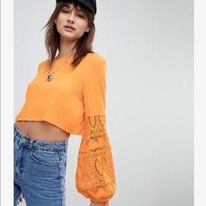 Vero Moda Crochet Sleeve Orange Top
